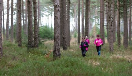 CAN participants running through Haldon Forest
